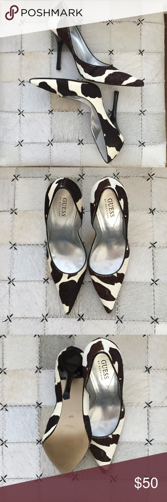 Genuine Cowhide Guess by Marciano Pump Beautiful cowhide pump by Guess with 4 inch heel.  They are Women's size 8.5M. I broke my toe shortly after purchased and haven't been able to wear them. I am finally parting with them although I love them so! Guess by Marciano Shoes Heels