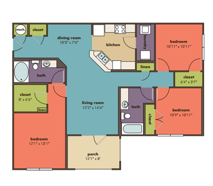 Gentil Vega   Three Bedroom Apartment In Ladson, SC. Bedroom ApartmentFloor PlansCharleston  ...