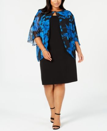 8e3c3cd0269 Connected Plus Size Floral-Print Chiffon-Capelet Dress - Blue 14W in ...