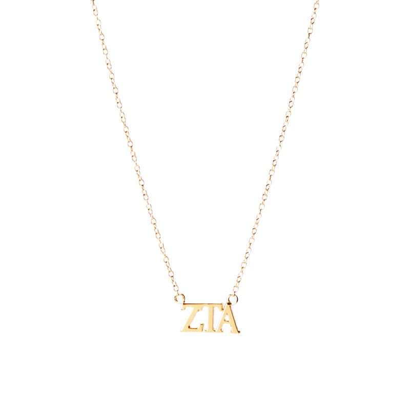 Zeta Tau Alpha gold lavalier necklace Go Greek Pinterest Zeta