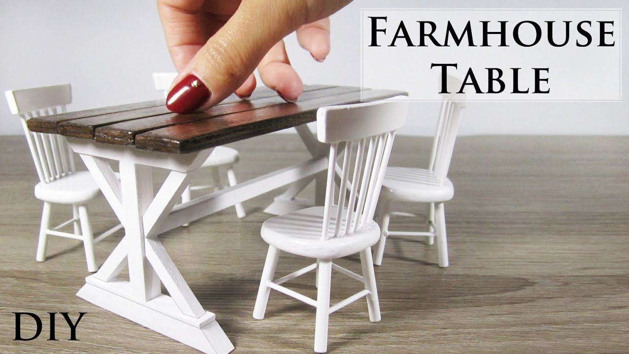 tutorial: miniature farmhouse dining table #dollfurniture