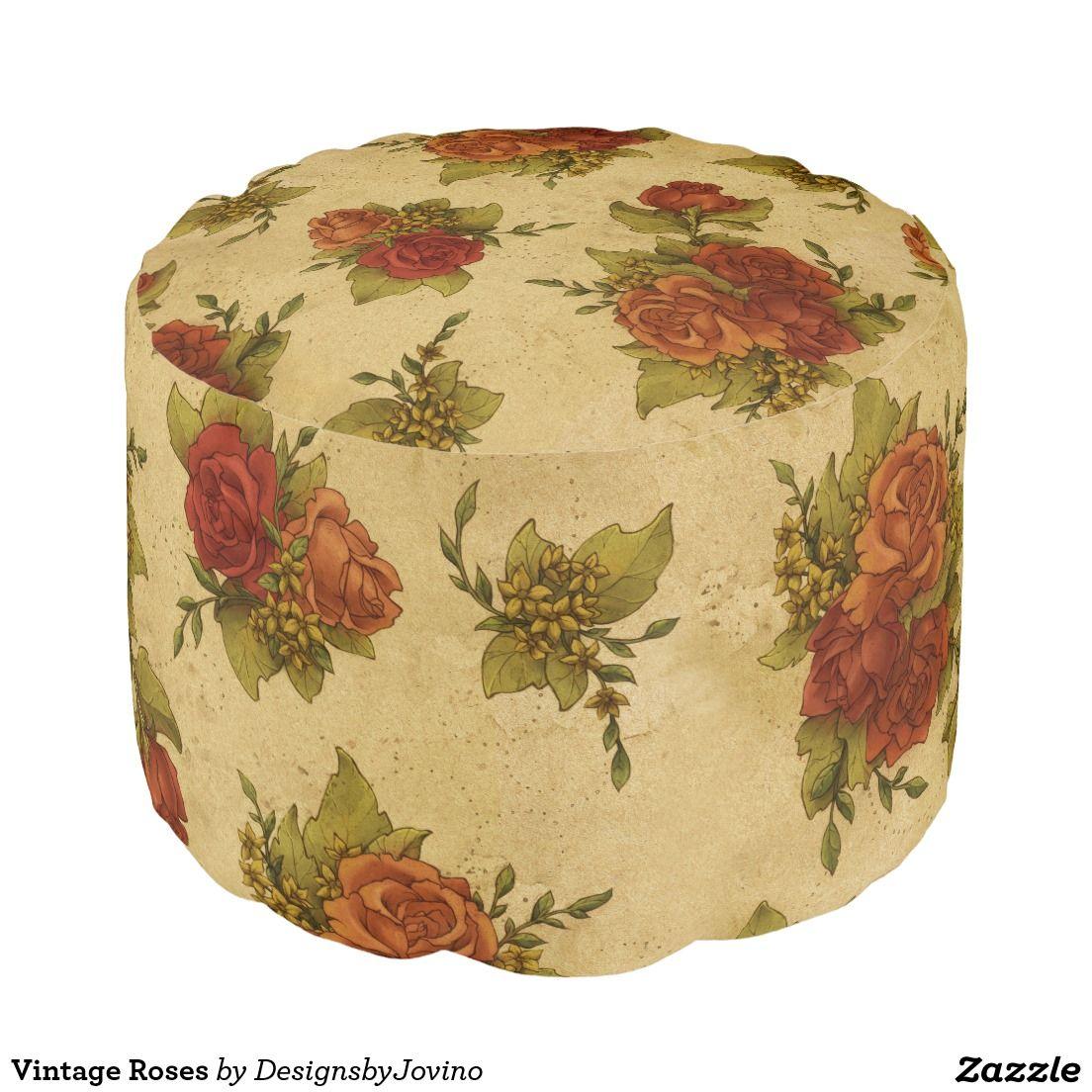 Vintage Roses Round Pouf