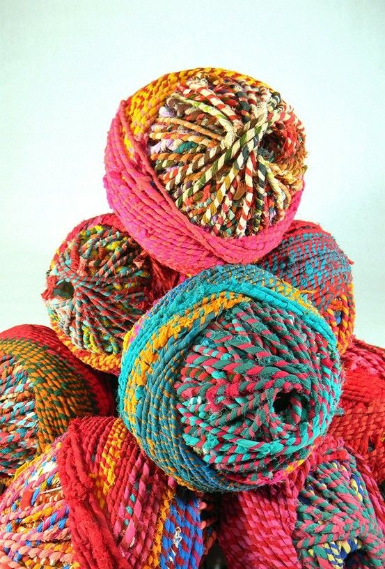Image by Clare Watters | Sari Yarn via her etsy store, Material Recovery