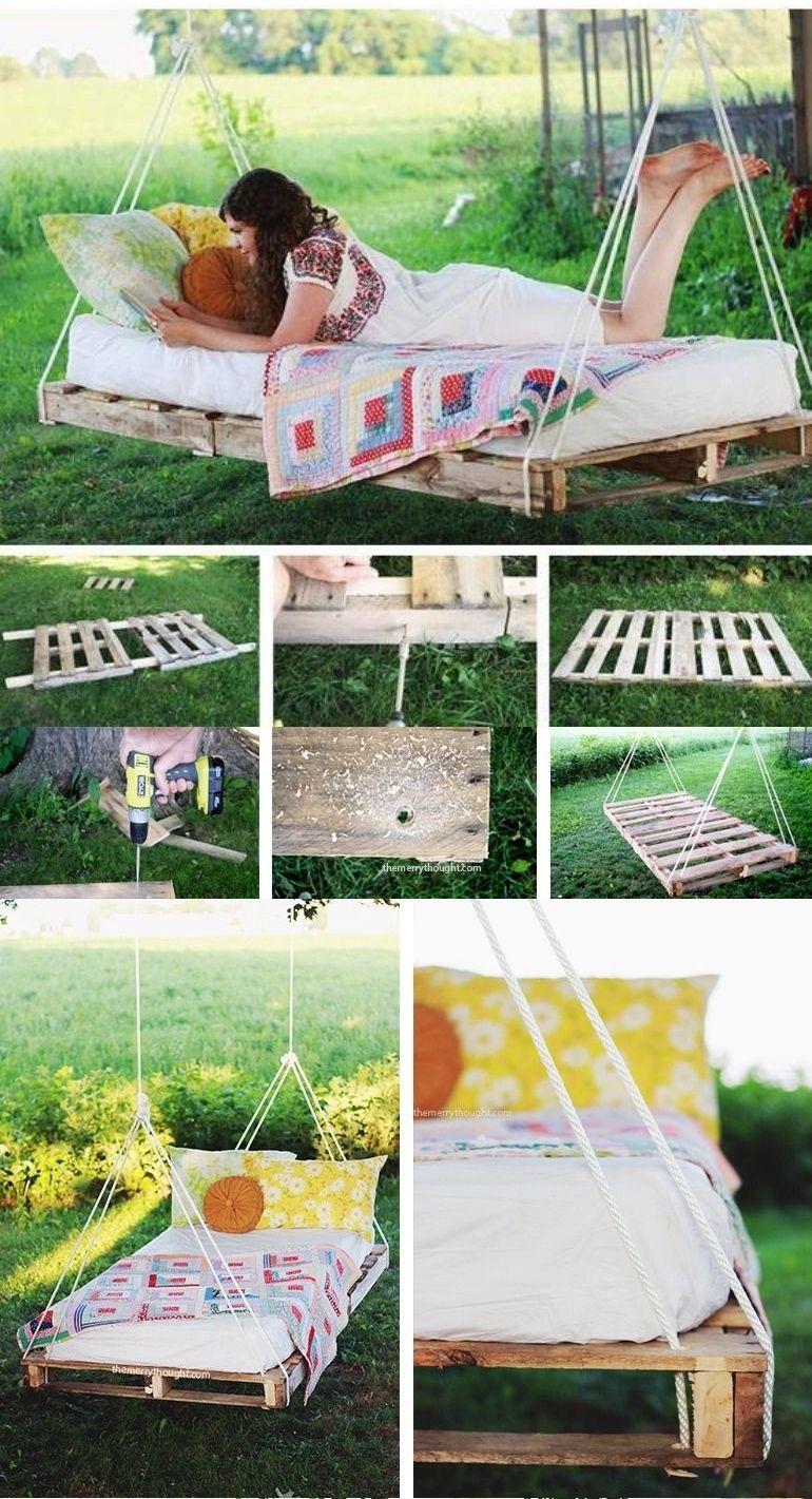 transformer des palettes en balancelle bricolage et diy balcones casas et jardiner a. Black Bedroom Furniture Sets. Home Design Ideas