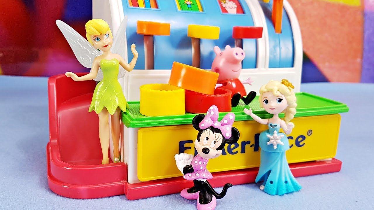 Educational surprise toy cash register with fun disney figures