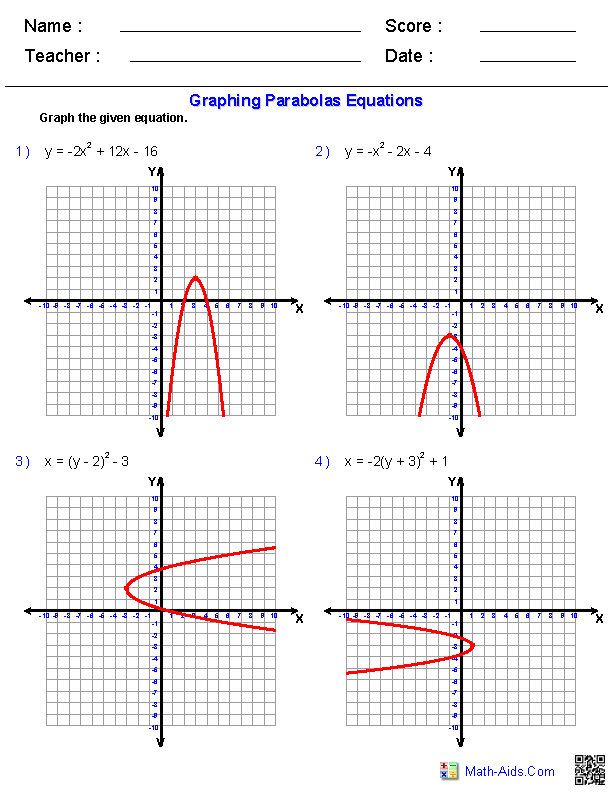 Graphing Quadratic Functions Worksheets | For my little twin(my ...