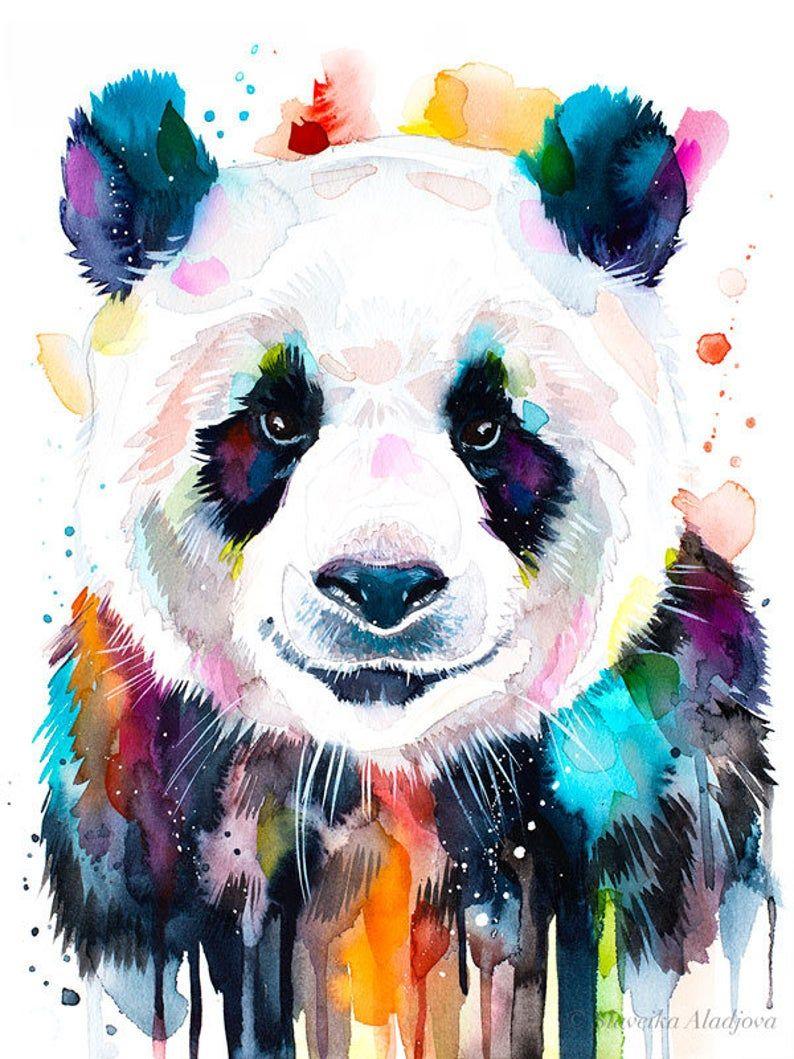 Colourful panda watercolor painting print by Slaveika Aladjova, art, animal, illustration, home decor, Nursery, gift, Wildlife, wall art