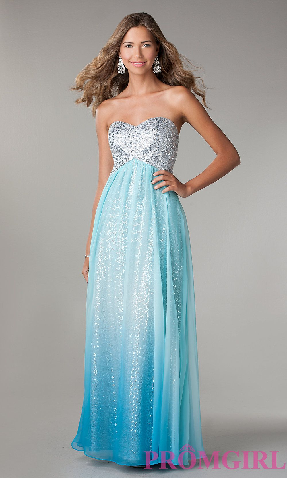 Jump Ombre Strapless Sequin Prom Dress- PromGirl http://www.promgirl ...