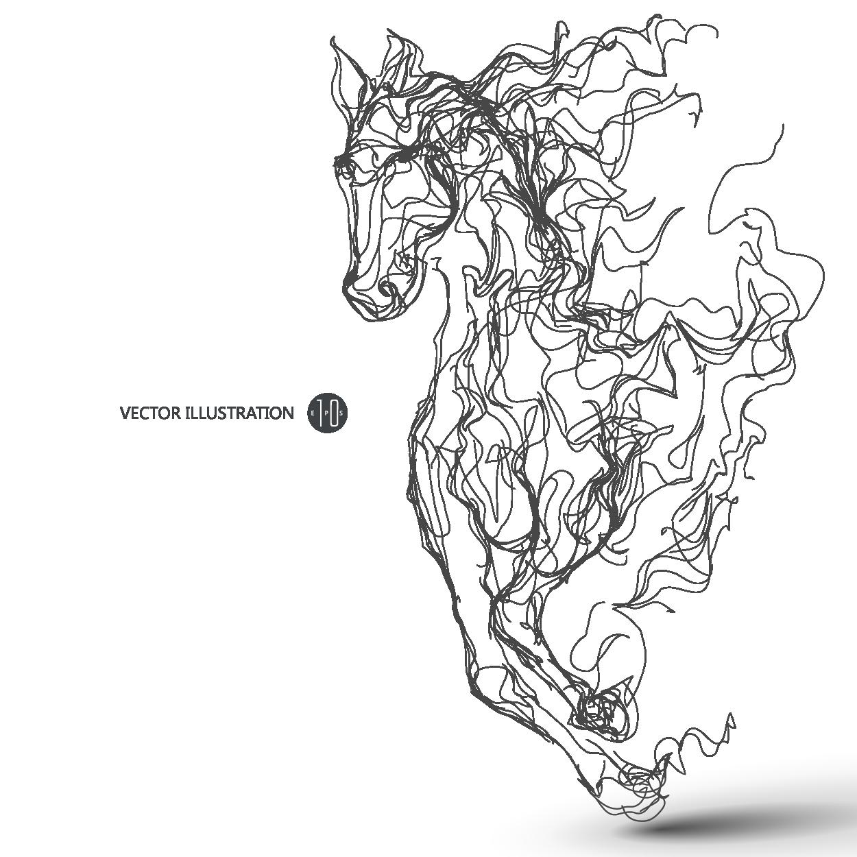 Placement Pattern Vector Files Animal Horse Animal Horse Vector Files Placement Pattern Womenswear Design Line Drawing Running Illustration Vector Illustration