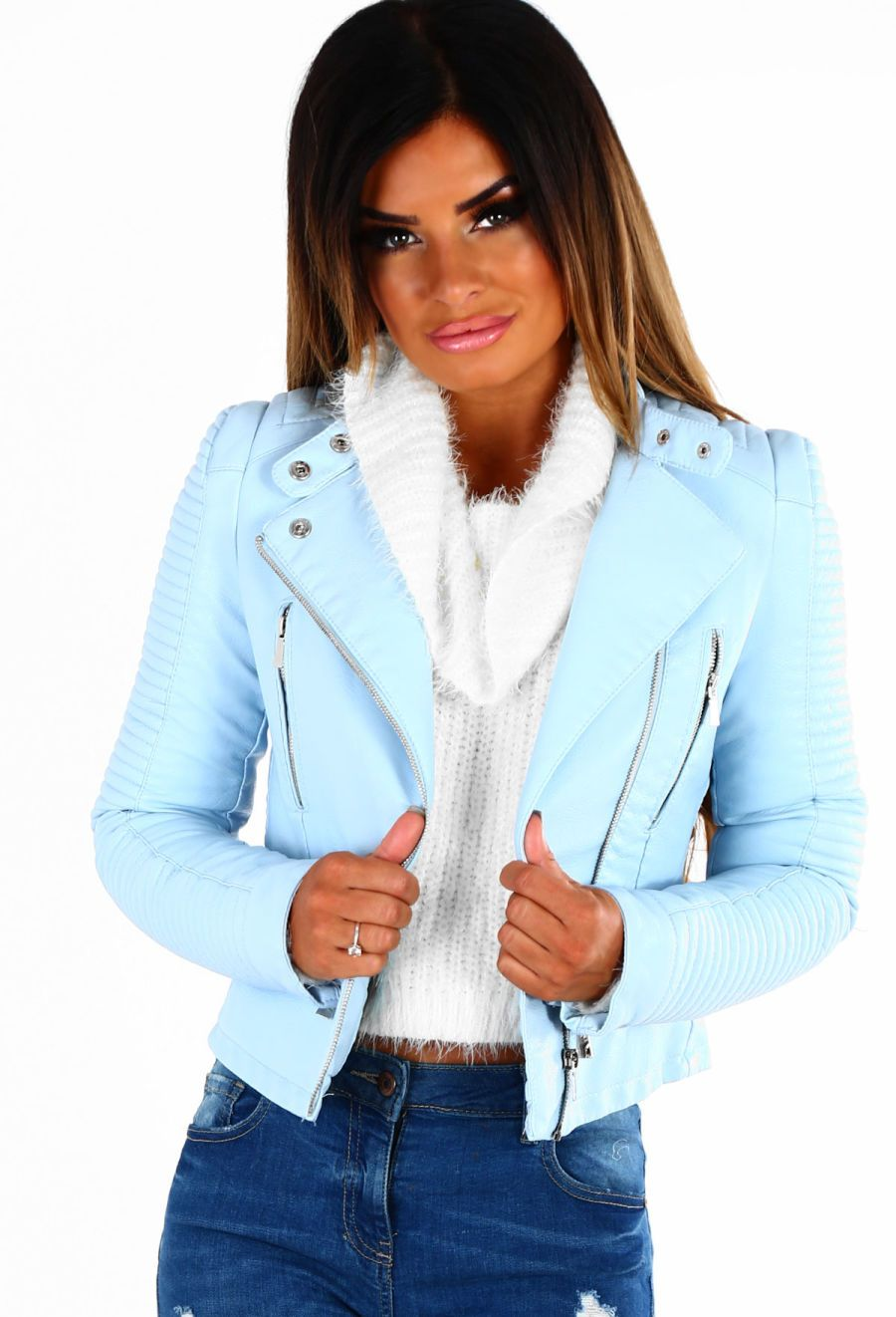 b8293b75e Be Brave Baby Blue Faux Leather Biker Jacket - 8