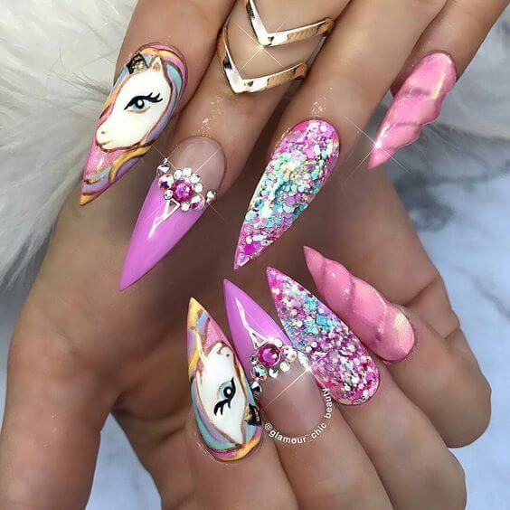 Unicorn Tipped Nail Art: 50 Magical Unicorn Nail Designs You Will Go Crazy For