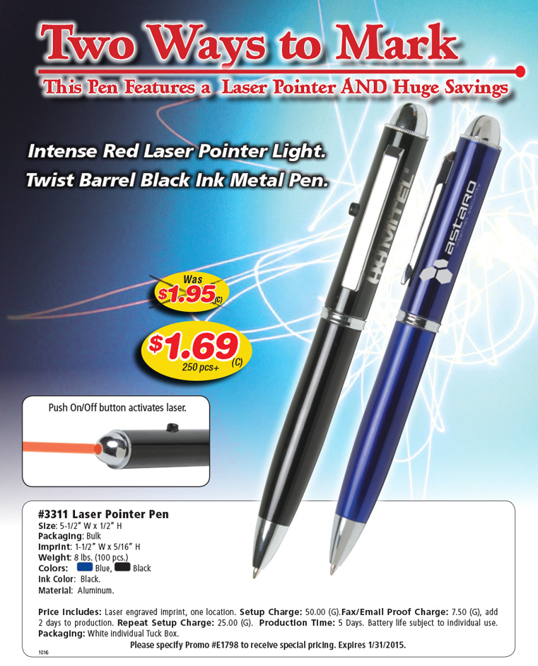 Personalized Promotional Products - Printed with Your Message: Promotional  Laser Pointer Ink Pen