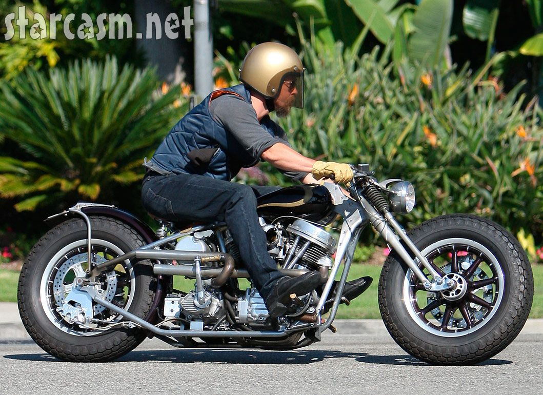Pics photos brad pitt on motorcycle - Brad Pitt On His Badass Custom Chopper Just Before His Motorcycle Accident In Beverly Hills