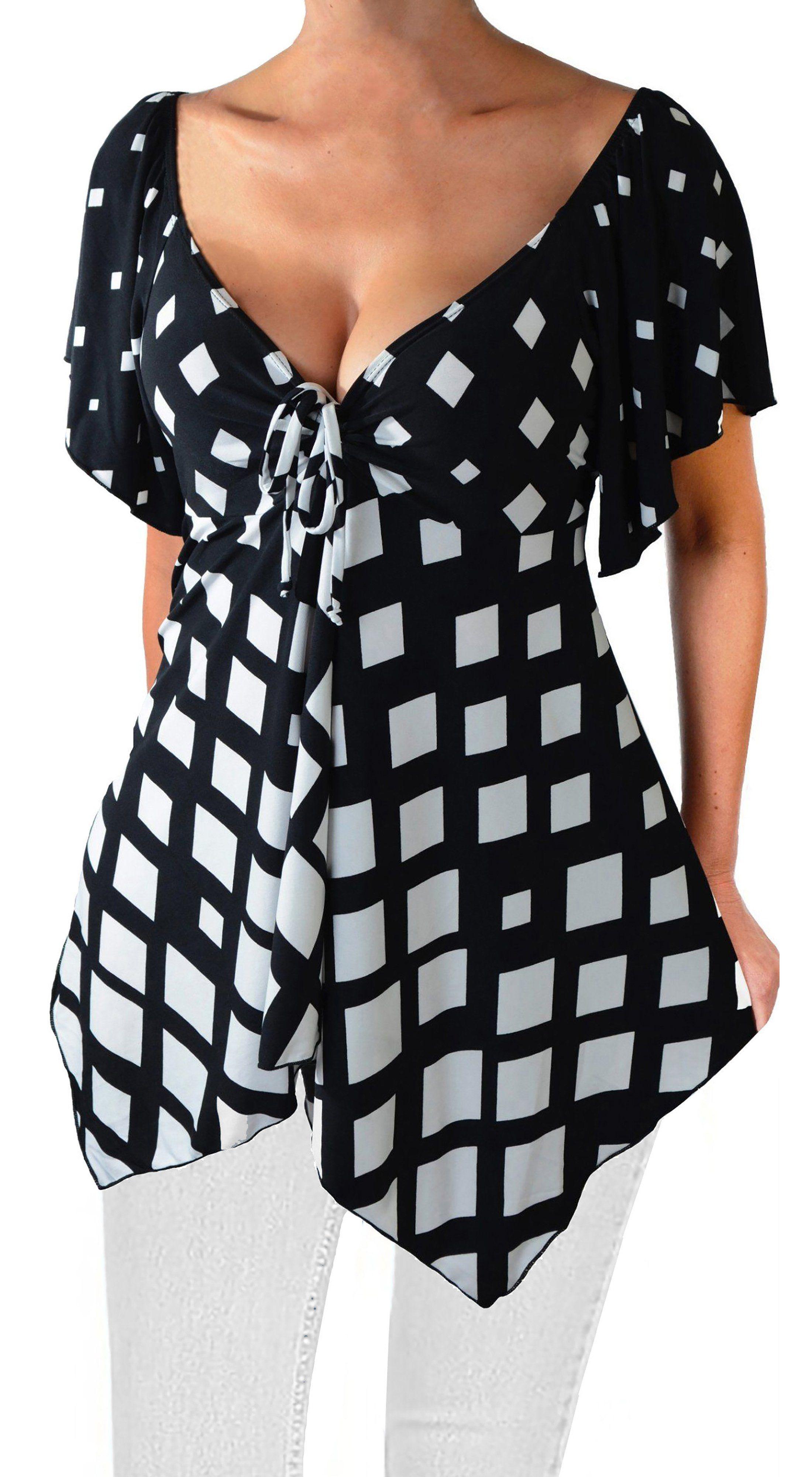 37b6234573e43f Funfash Plus Size Top Black White Diamond Empire Waist USA Blouse Shirt