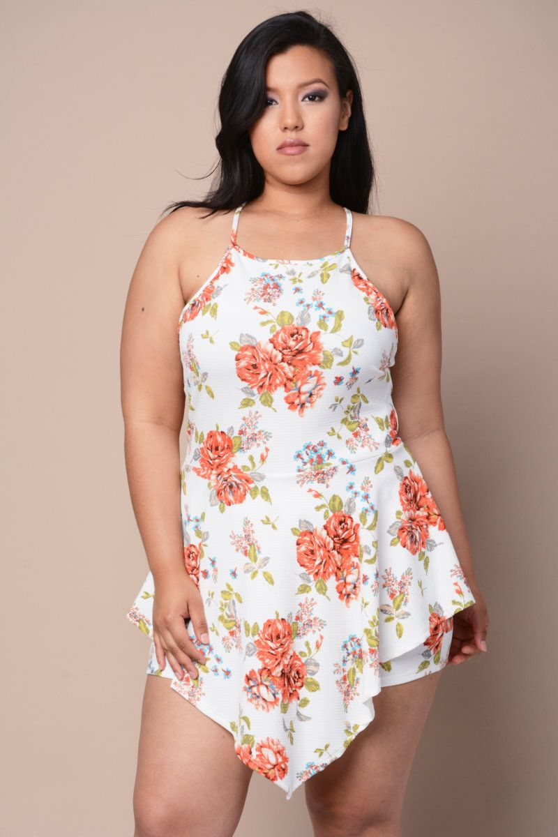 db36a973e926 Floral Flounce Cami Romper Plus Size Looks