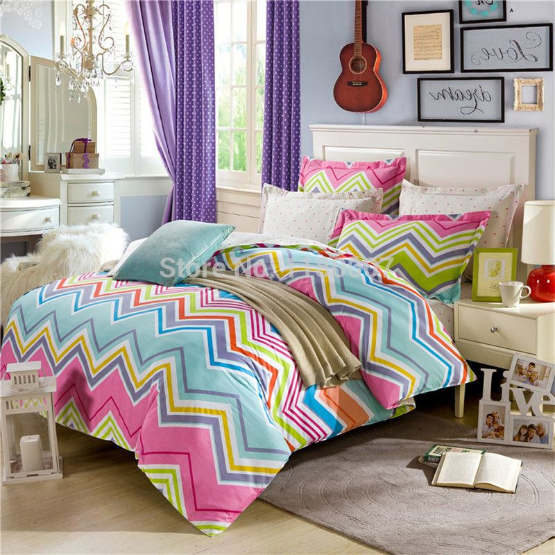 100 Cotton Modern Multi Colorful Chevron Zigzag Bed Lien Reversible Duvet Cover Bedding Set 4