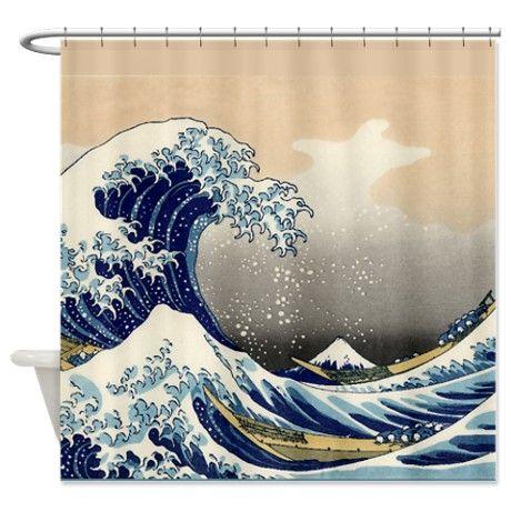 Japanese Tsunami Wave Art Shower Curtain   Tsunami waves, Wave art ...