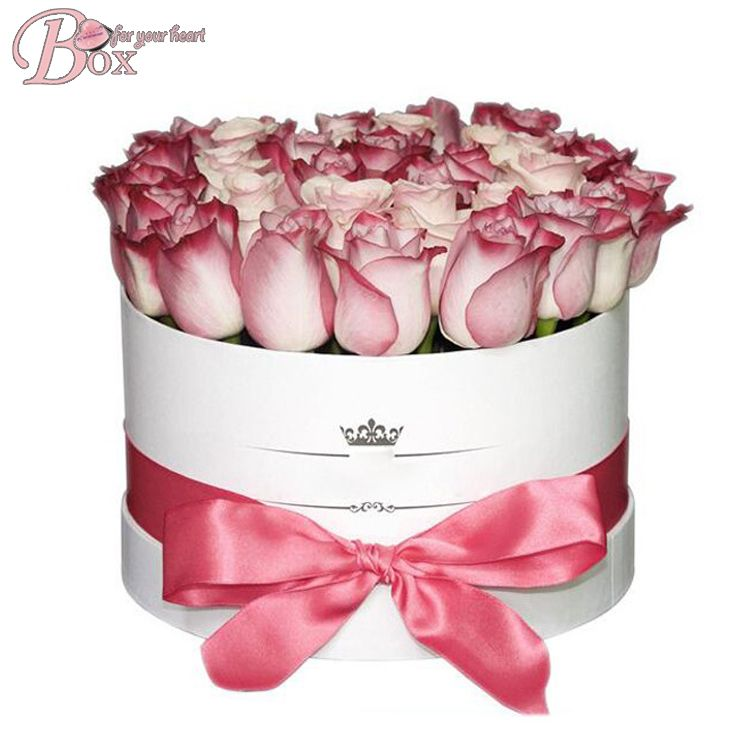Luxury facny cardboard paper round flower box with lid
