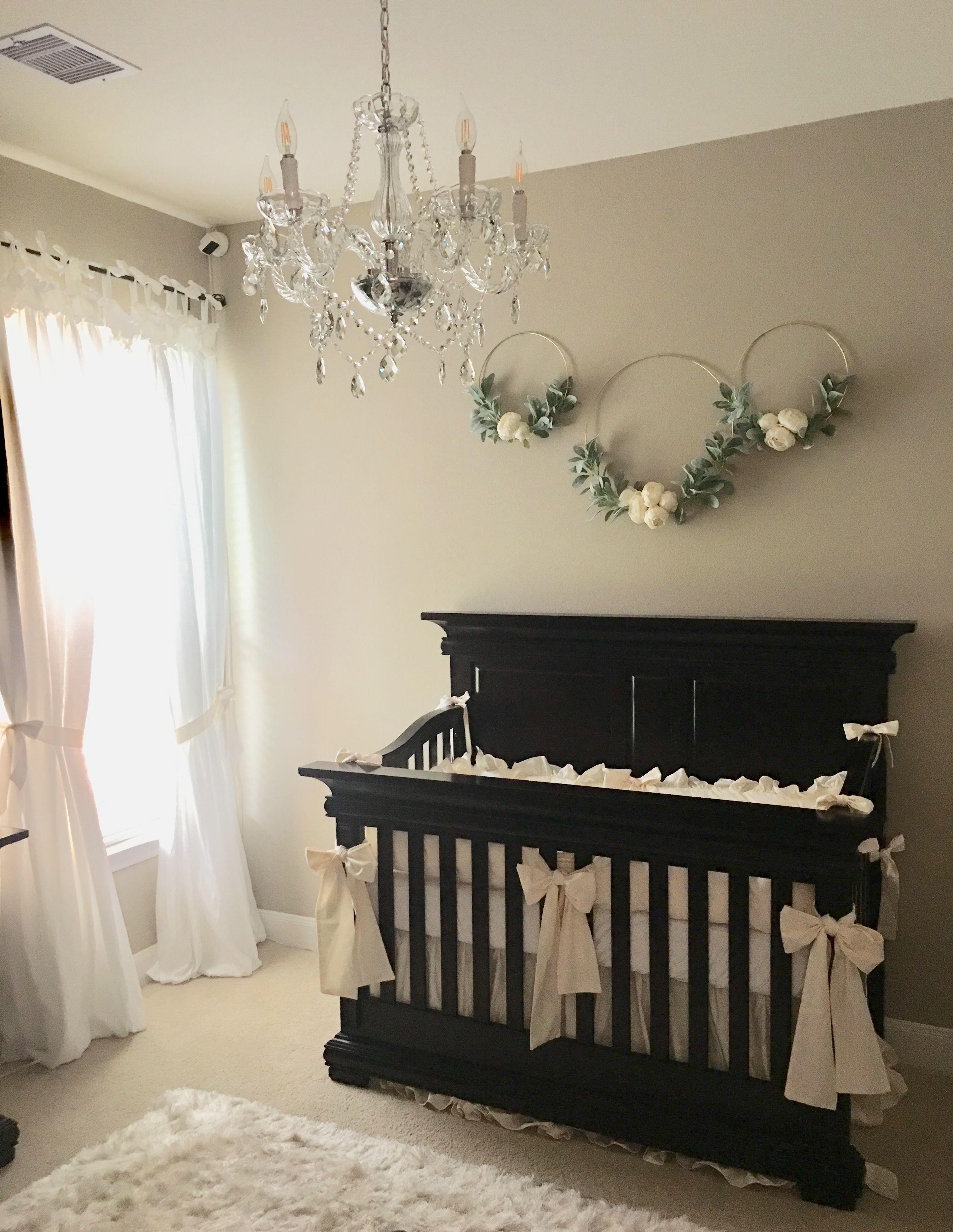 Dark wood crib, ivory baby bedding, girl nursery, Girl