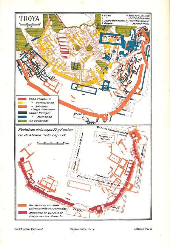 Troy Archeological City Map 1920s Trojan Fortress And Sanctuary Of