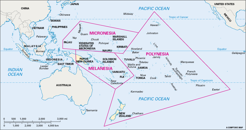 MapStillOceania is traditionally divided into three parts