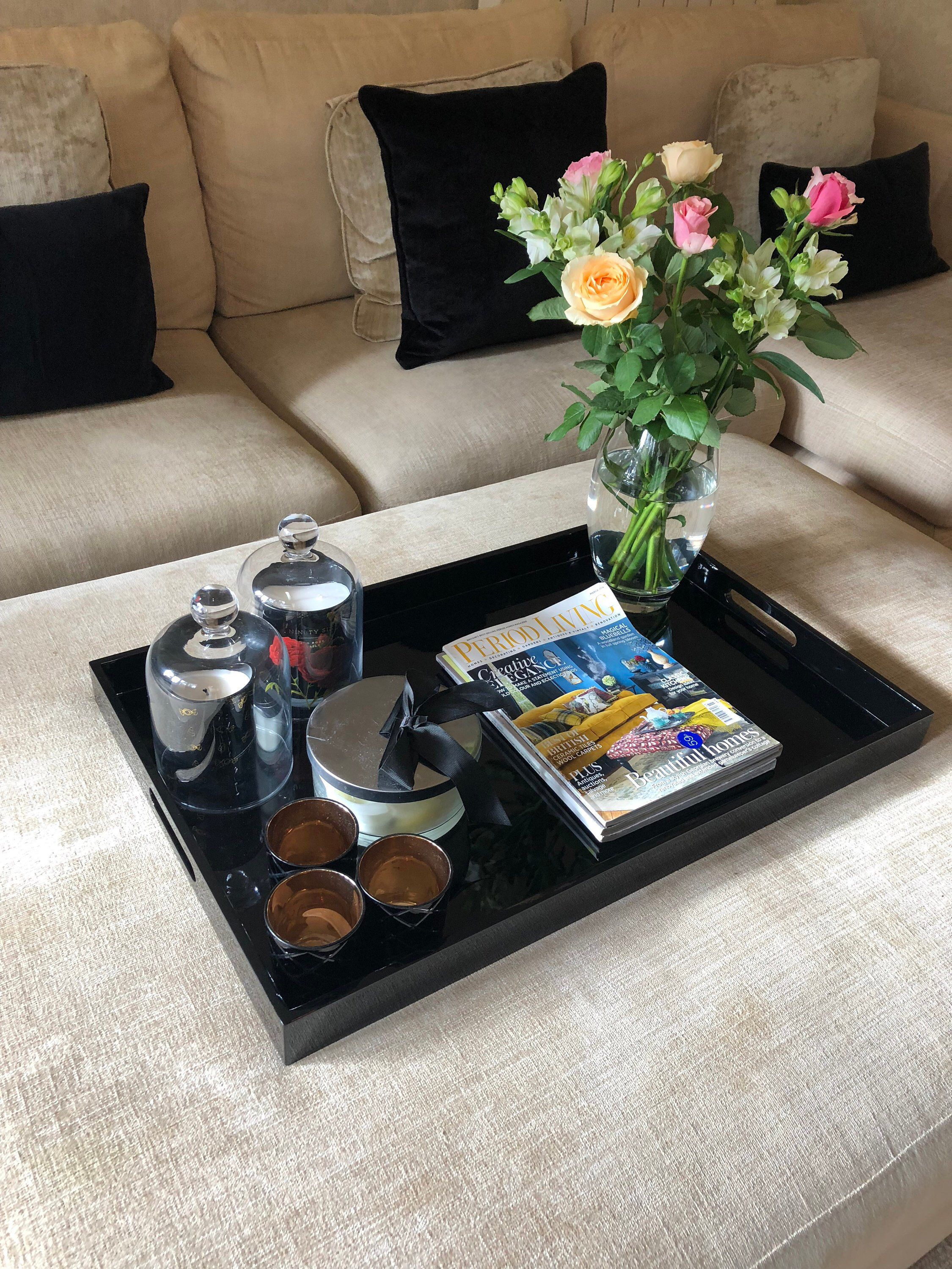 Large Black Gloss Lacquered Rectangular Ottoman Tray Coffee Etsy Ottoman Tray Coffee Table Tray Tray