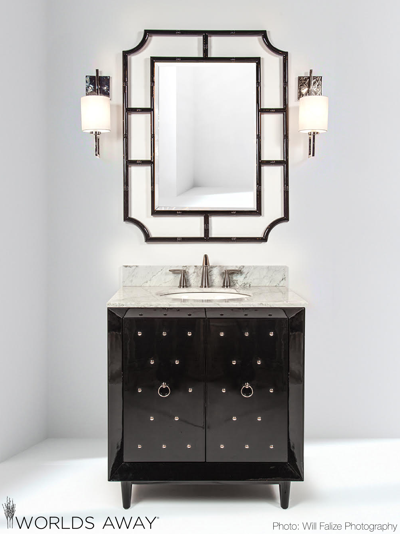 Worldsawaydecor S New Bath Collection Davin Bath Vanity In Black Lacquer With Nickel Hardware And Marble Top Vanity Bath Vanities Bathroom Interior Design