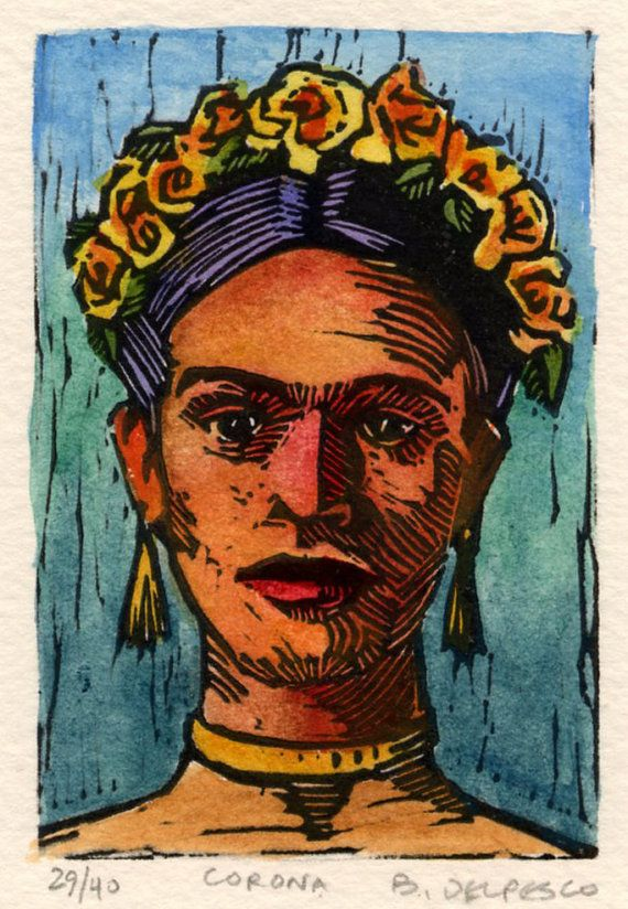 Small linocut of Frida, titled Corona, printed in black and painted with watercolor. On Etsy.