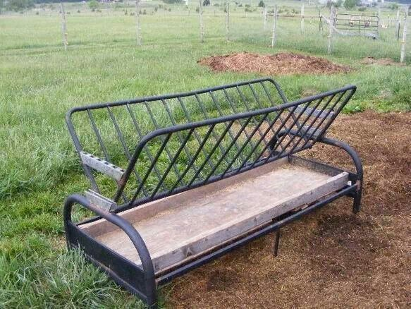 Old Futon Frame Turned Into A Hay Feeder Horse Stuff Pinterest