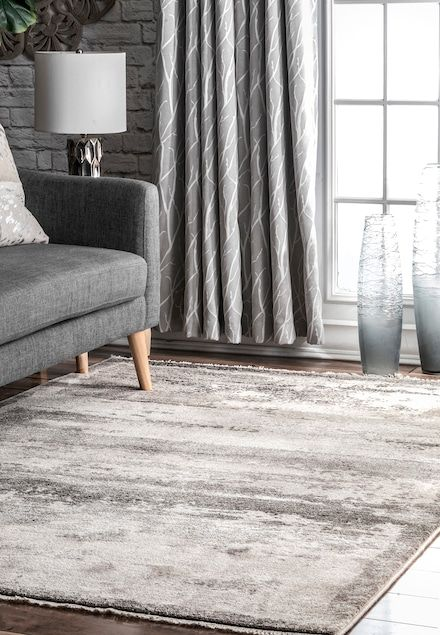 Rugs Usa Gray Hectoria Abstract Ombre Fringe Rug