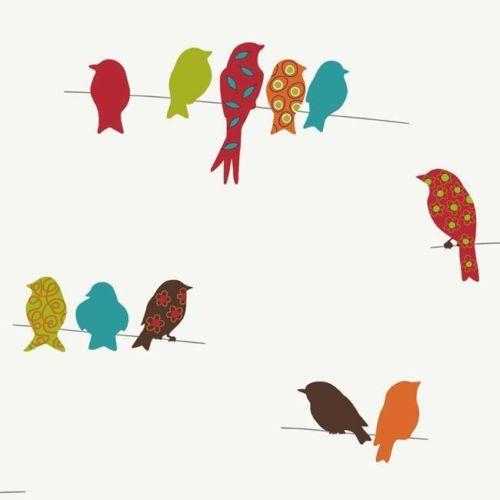 Wallpaper Designer Fun Bright Multi Patterned Birds Retro
