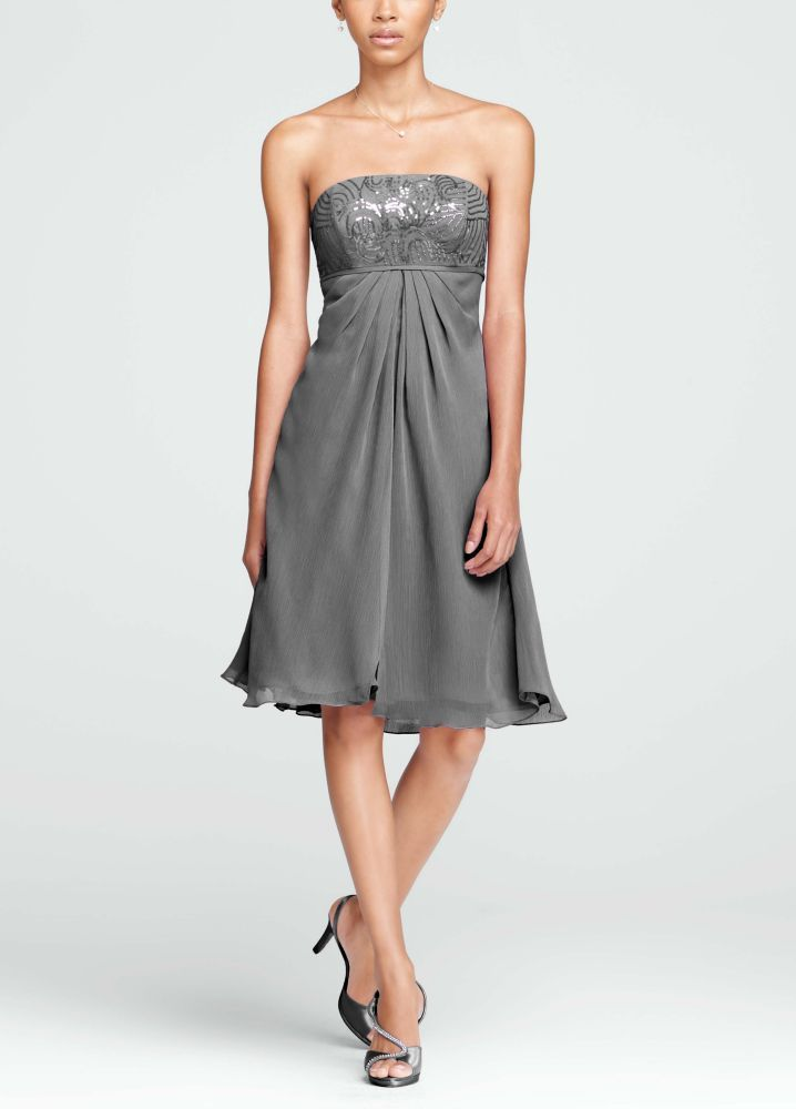 Short Strapless Dress with Sequin Bodice Style F15419