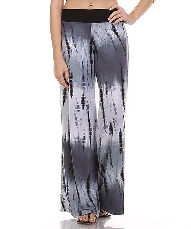 974d139fcddef Look at this  zulilyfind! Black   Gray Tie-Dye Fold-Over Palazzo ...