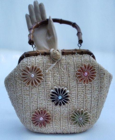 50s Raffia Straw Handbag