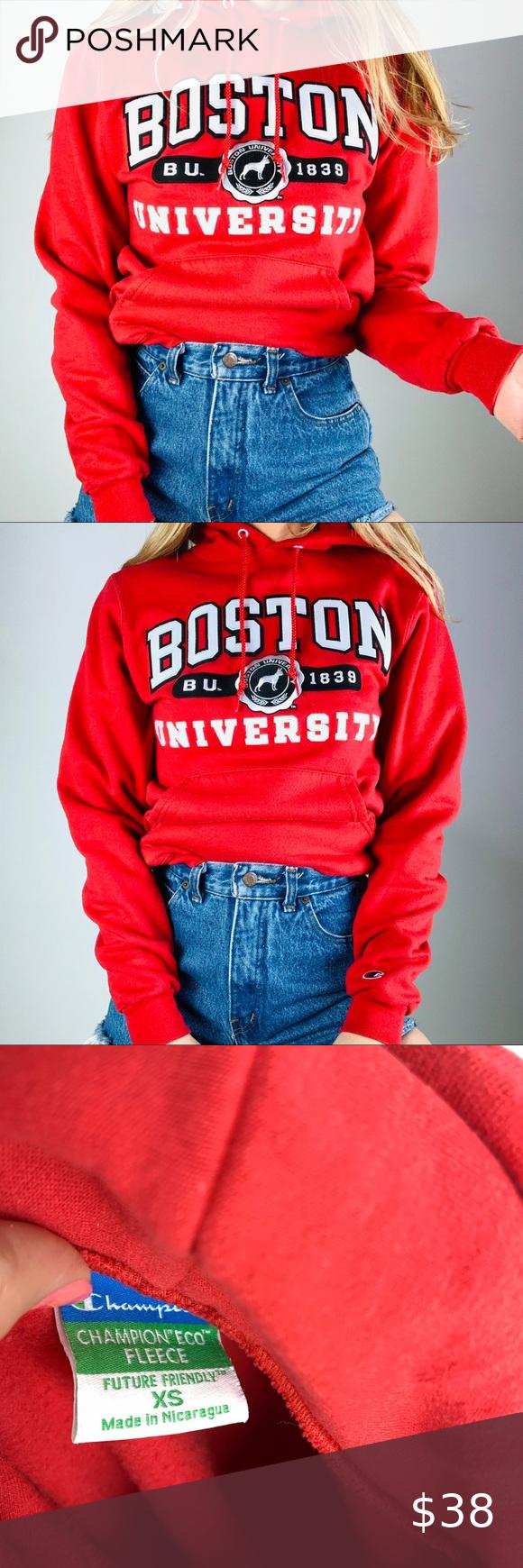 Champion Boston University Hoodie Sweatshirt Xs Sweatshirts Hoodie Embroidered Hoodie Sweatshirts Sweatshirts [ 1740 x 580 Pixel ]