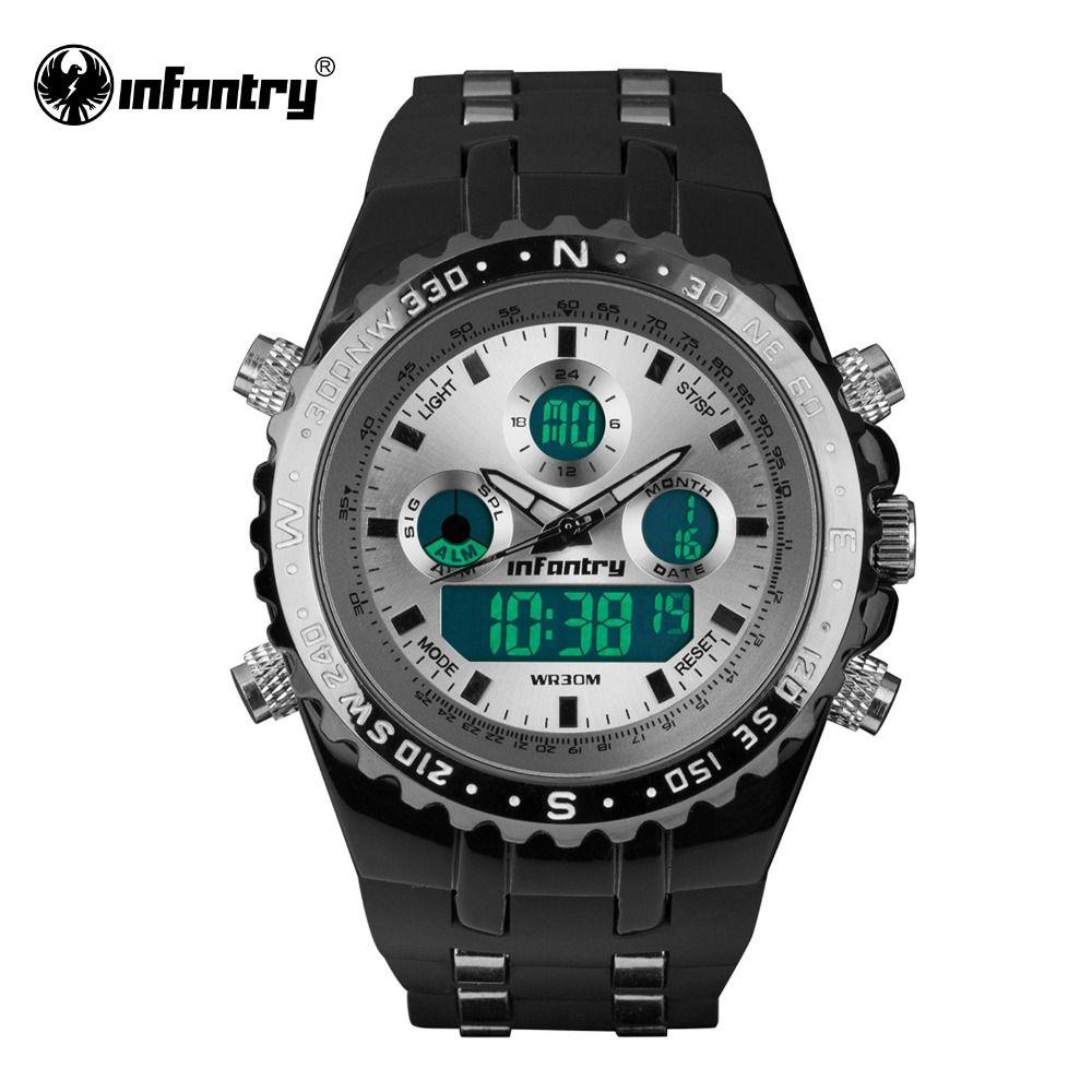 f2ac814d5acb INFANTRY Mens Quartz-watches Aviator LCD Digital Watch 2017 Brand Sports  Rubber Analog Male Clock White Relogio Masculino