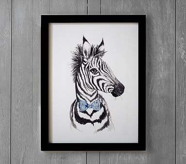Dapper zebra wall art by mintedr 16x20 white baby room decorkids