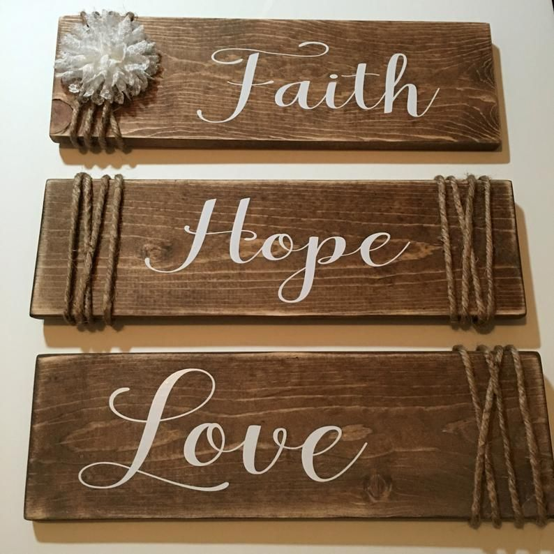 Rustic Wooden Set of 3 Faith Hope Love Signs