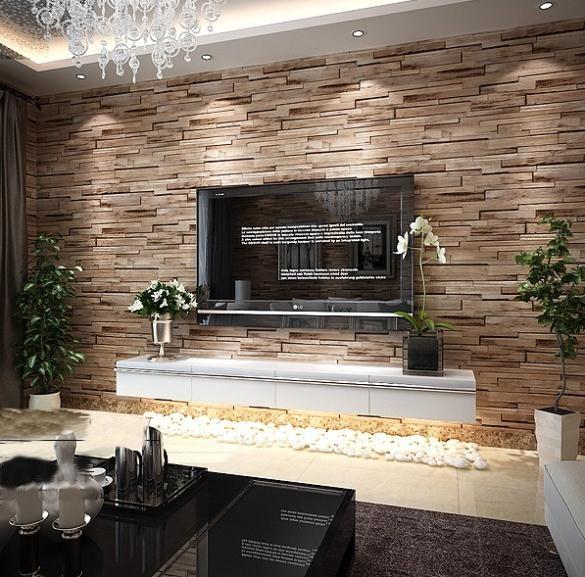 Modern rustic wood blocks brick wall effect vinyl wallpaper roll brown 10M   TV Wall   Living ...