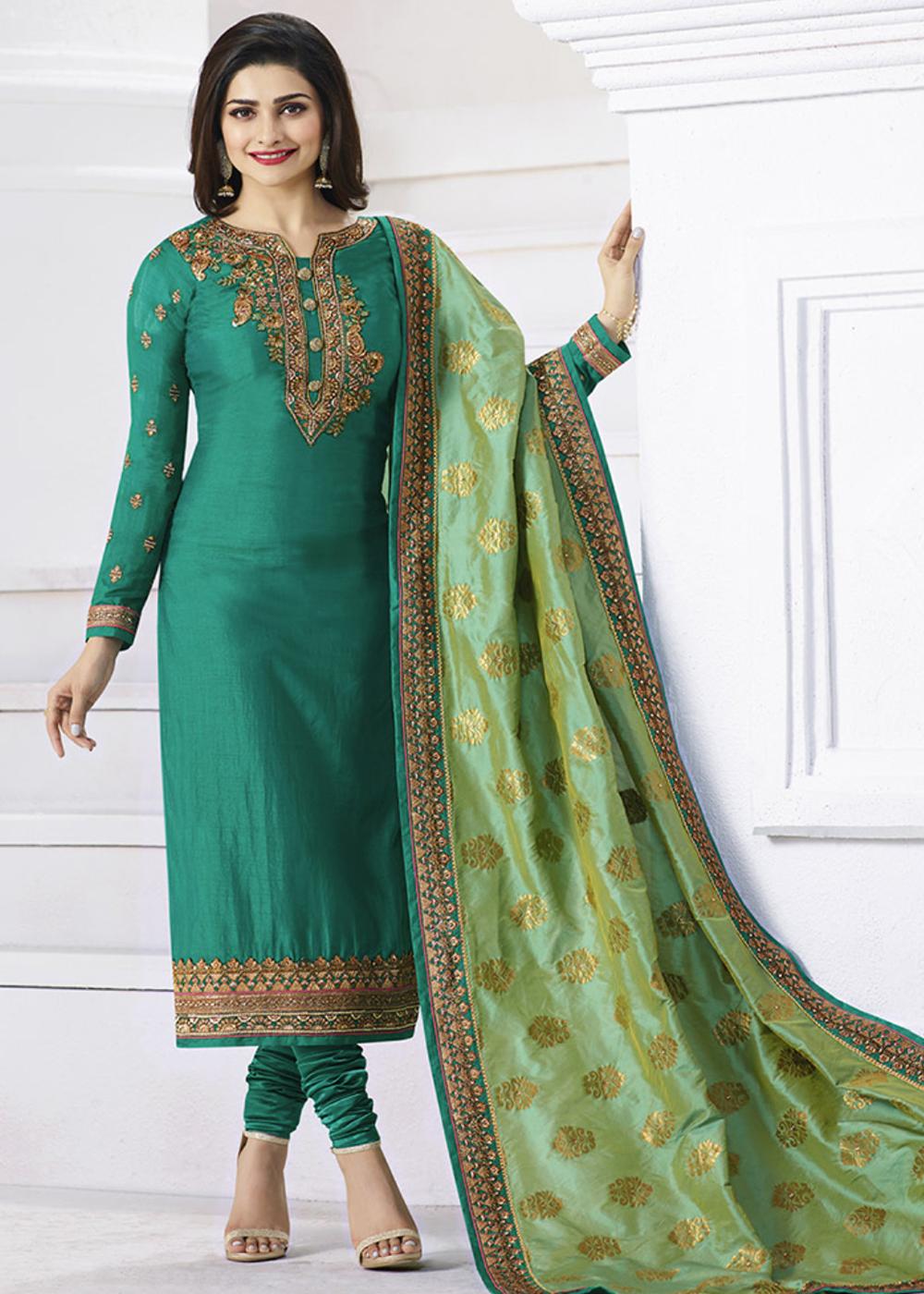 fee2f263d0 Prachi Desai Teal Green Art Silk Straight Cut Salwar Suit in 2019 ...