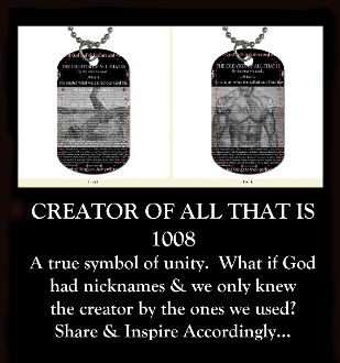 """FREE SHIPPING - Inspiration Tag 1008 CREATOR OF ALL THAT IS $23.95  Inspiration tags are jewelry for men and women. The dog tags measure 2 x 1 1/8 inches.  Double sided, color art images coated in clear enamel hang on a 30"""" aluminum ball chain.  Light-weight, waterproof, original fine art work designed and created by American artist Deprise Brescia."""