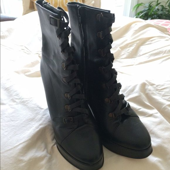 Opening Ceremony platform leather boots. Leather, bought at Intermix NYC. Size 8. Worn but great condition. Zipper side, platform. 2.5-3 inch heel. 1 in platform. Opening Ceremony Shoes Ankle Boots & Booties