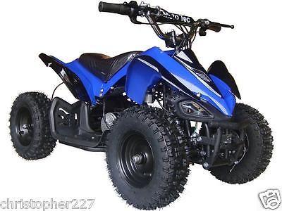 New Outdoor Kids Ride On V2 Blue Mini Quad ATV Dirt Motor Bike Electric Battery