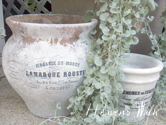 Gorgeous transformation of terra-cotta pots into French garden stunners -   24 white garden pots