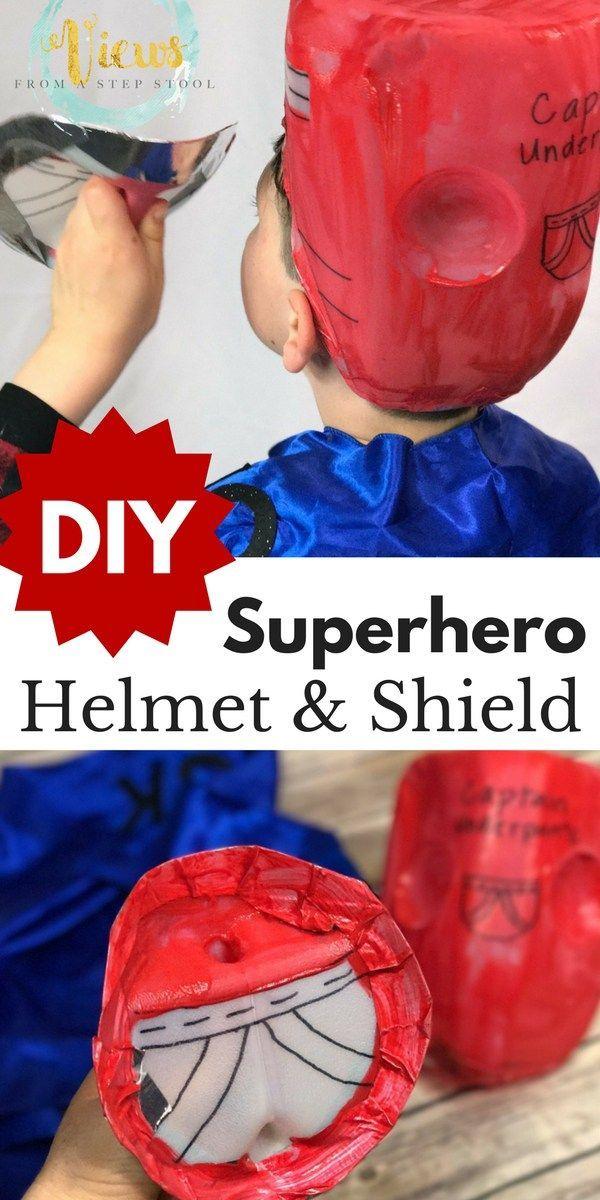 DIY Superhero Costume Helmet and Shield from a Plastic Jug #plasticjugs Turn an ordinary plastic jug into DIY superhero costume accessories! Make a superhero helmet and a shield! #UnbottledLaffter  #TampicoJuice #Ad #DrinkTampico #plasticjugs