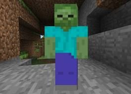 een zombie is een monster dat in donkeren mijnen spawnt of in de nacht ze maken een vreemd geluid als je ze kilt krijg je bedorven vlees en heel soms een patat of wortel