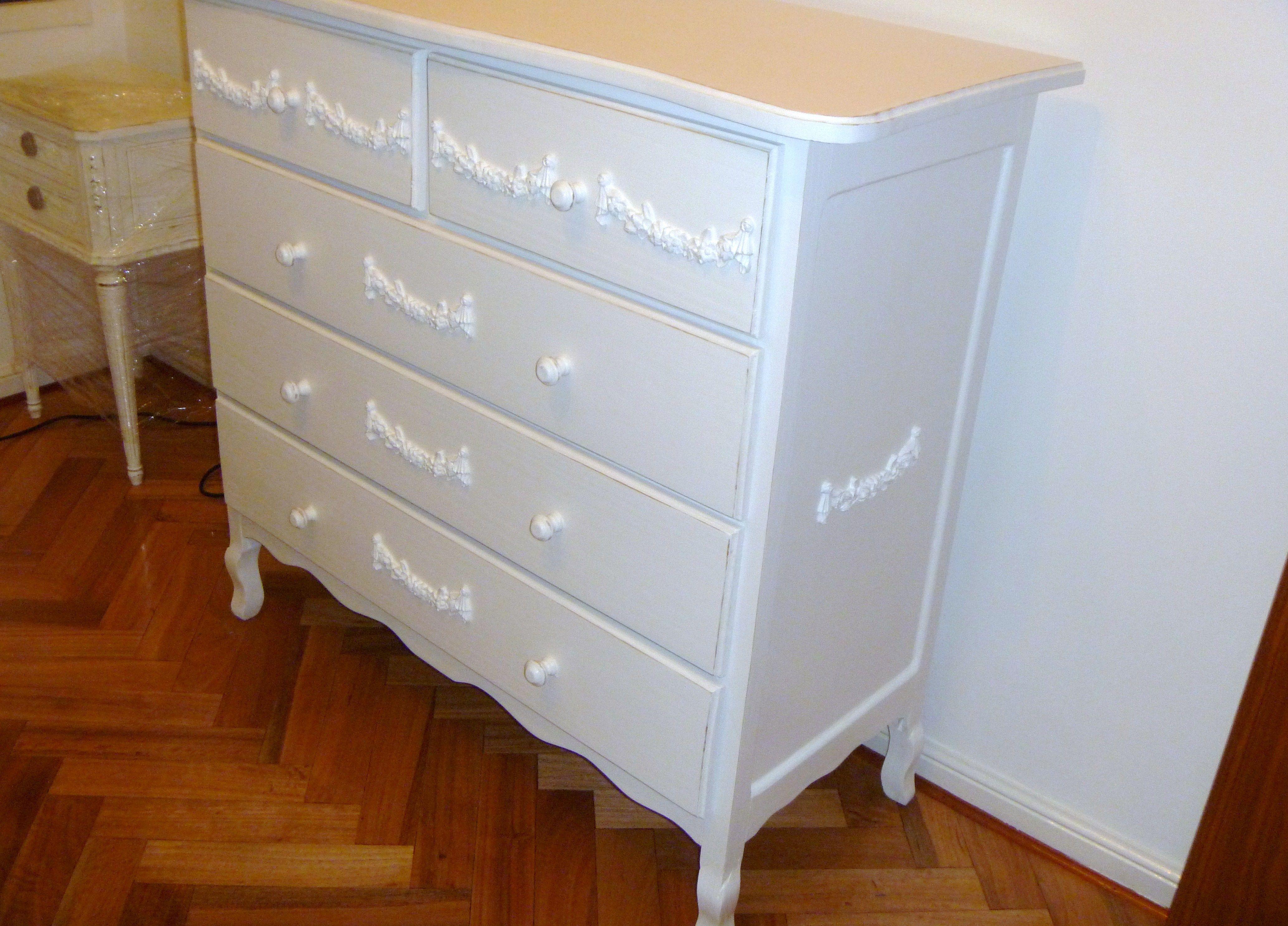 C moda provenzal 5 cajones con molduras muebles shabby chic muebles muebles shabby chic y ba os - Shabby chic muebles ...