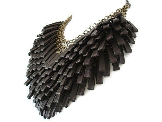 Collar de cuero marrón declaración Multi Strand collar