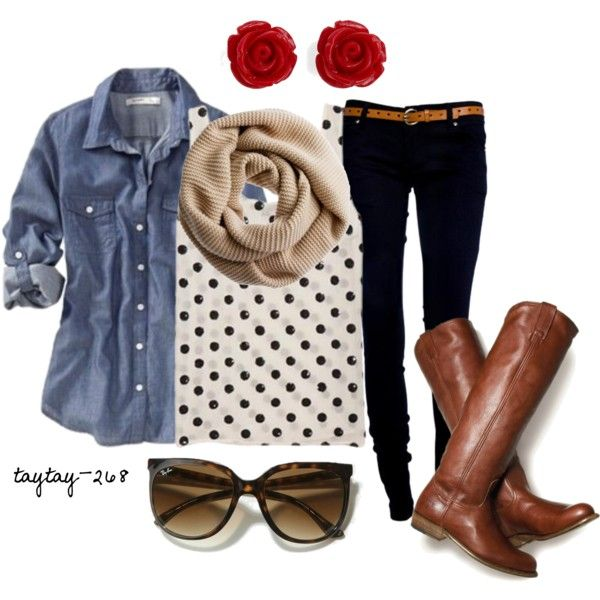 polka dot tank, button-up denim shirt,cute rose earrings,long boots, infinity scarf, and sun glasses! love it all