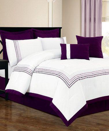 White Amp Purple Klyne Comforter Set By Duck River Textile